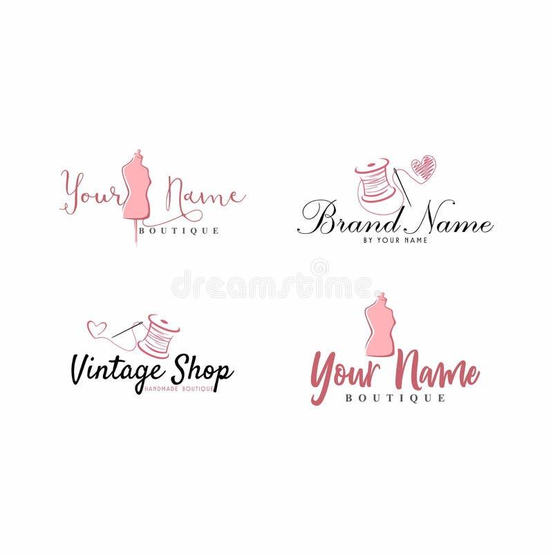 Kleermaker Sewing Vintage, Ledenpop, Manier, Bloemen, Retro Logo Set stock illustratie