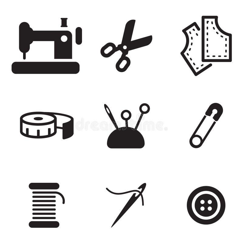 Kleermaker Shop Icons royalty-vrije illustratie