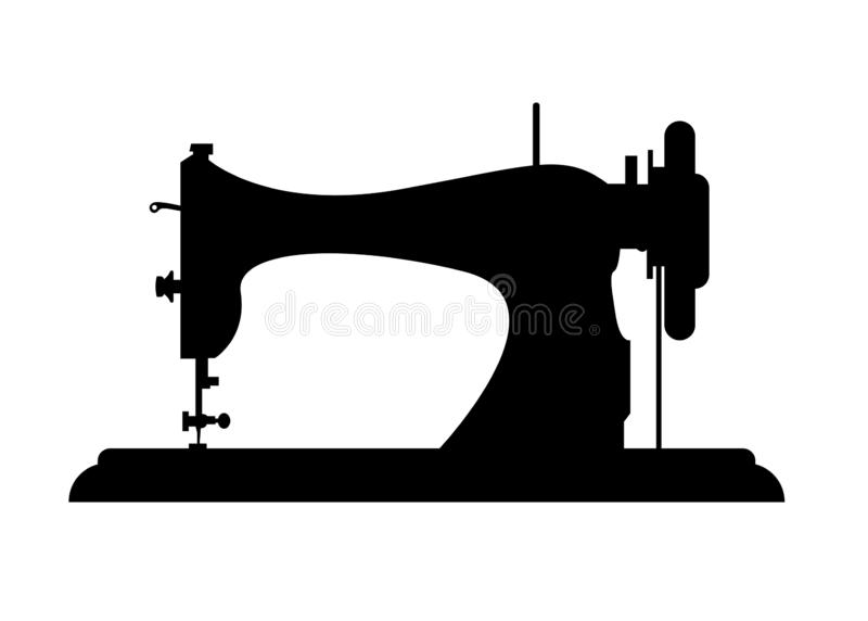 Kleermakers vectorembleem Het malplaatje van het naaimachineembleem Manierembleem Naaimachine vectordiepictogram op witte achterg vector illustratie