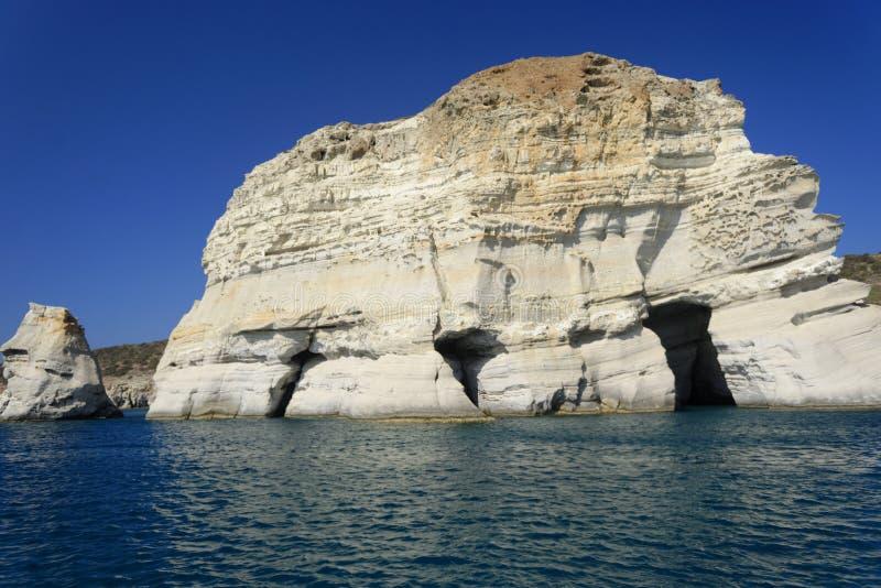 Kleftiko grottor, Milos Island royaltyfria bilder
