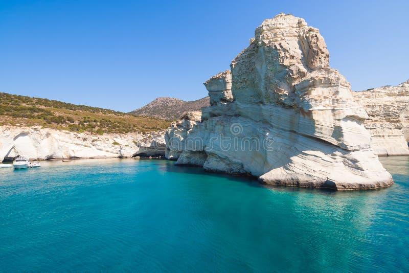 Kleftiko-Klippen, Milos Insel, die Kykladen, Griechenland stockbild