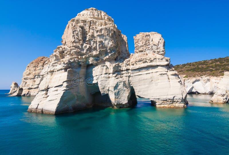 Kleftiko klippor, Milos ö, Cyclades, Grekland arkivbild
