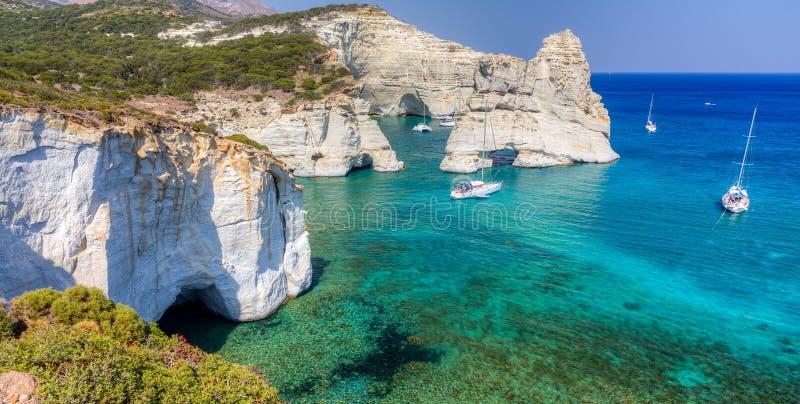 Kleftiko Milos ö, Cyclades, Grekland arkivfoto