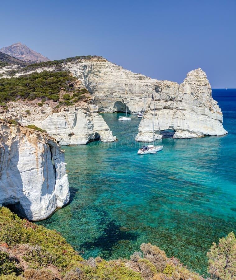 Kleftiko Milos ö, Cyclades, Grekland royaltyfri foto