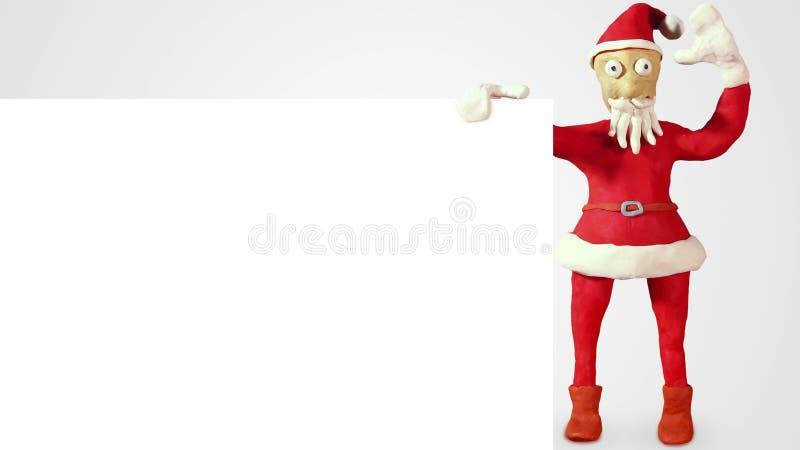 Klei de Kerstman met witte lege raad stock fotografie