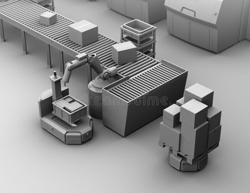 Klei het model teruggeven van robotachtig wapen het plukken pakket aan zelf het drijven vorkheftruckagv royalty-vrije illustratie