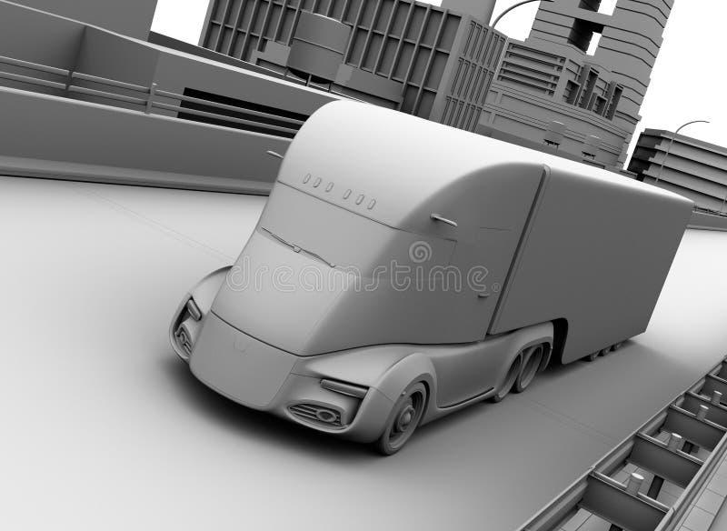 Klei het model teruggeven van zelf-drijft het elektrische semi vrachtwagen drijven op weg vector illustratie
