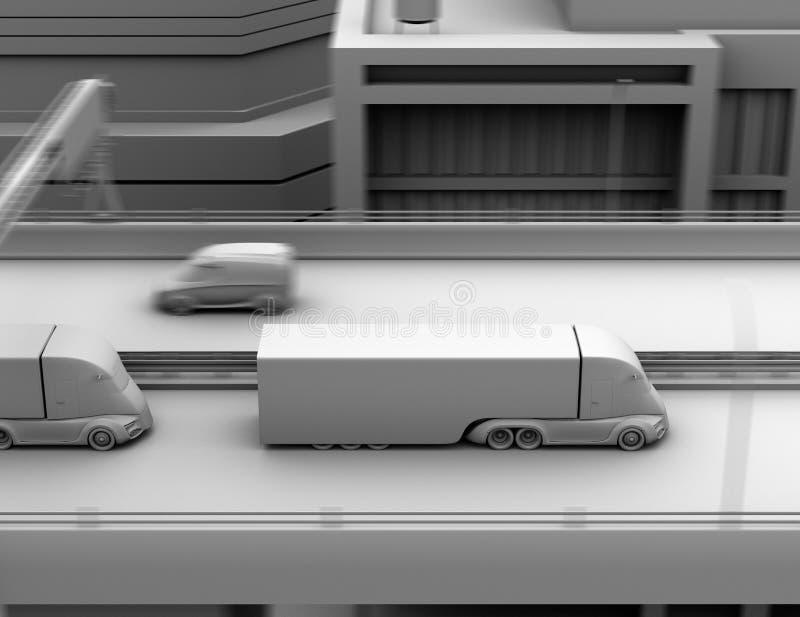 Klei het model teruggeven van zelf-drijft het elektrische semi vrachtwagen drijven op weg royalty-vrije illustratie