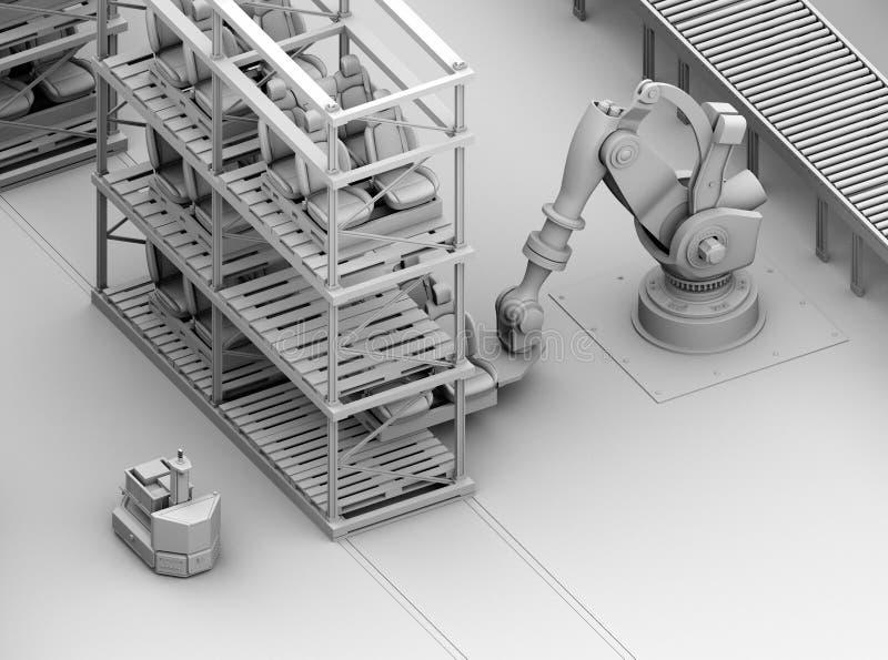 Klei het teruggeven van zwaargewicht robotachtige wapen het plukken autozetels in de productielijn van de autoassemblage royalty-vrije illustratie