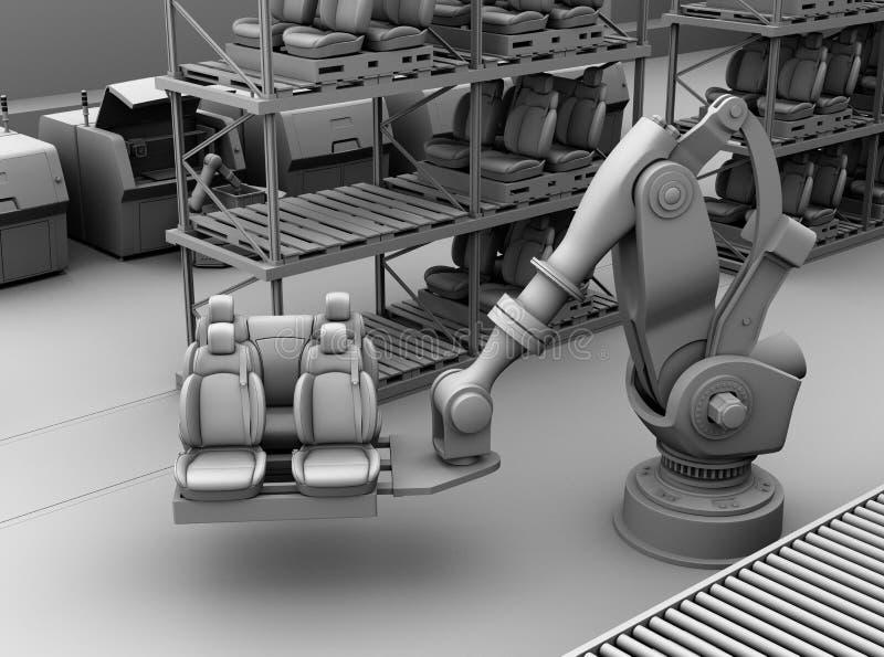 Klei het teruggeven van zwaargewicht robotachtige wapen het plukken autozetels in de productielijn van de autoassemblage stock illustratie