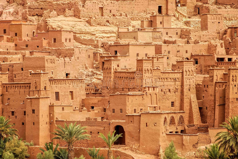 Klei kasbah Ait Benhaddou, Marokko royalty-vrije stock foto's
