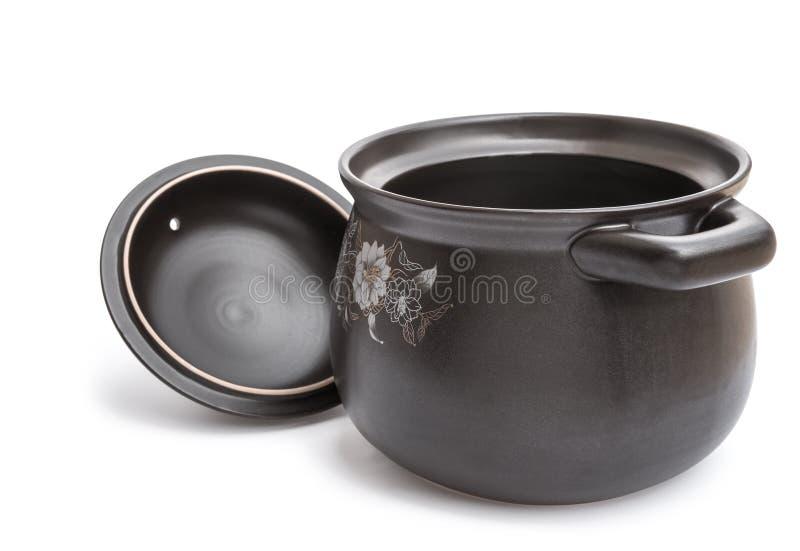 Klei kokende pot stock afbeeldingen