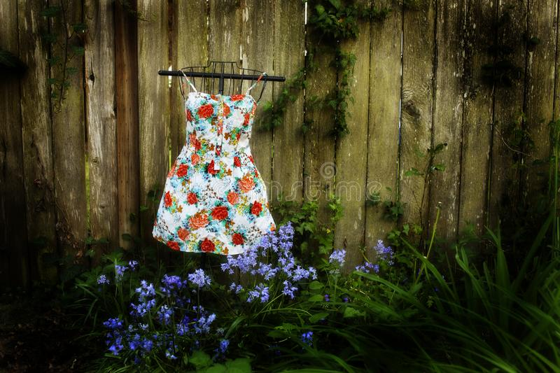 Kleid-againts ein Zaun 1a lizenzfreie stockfotografie