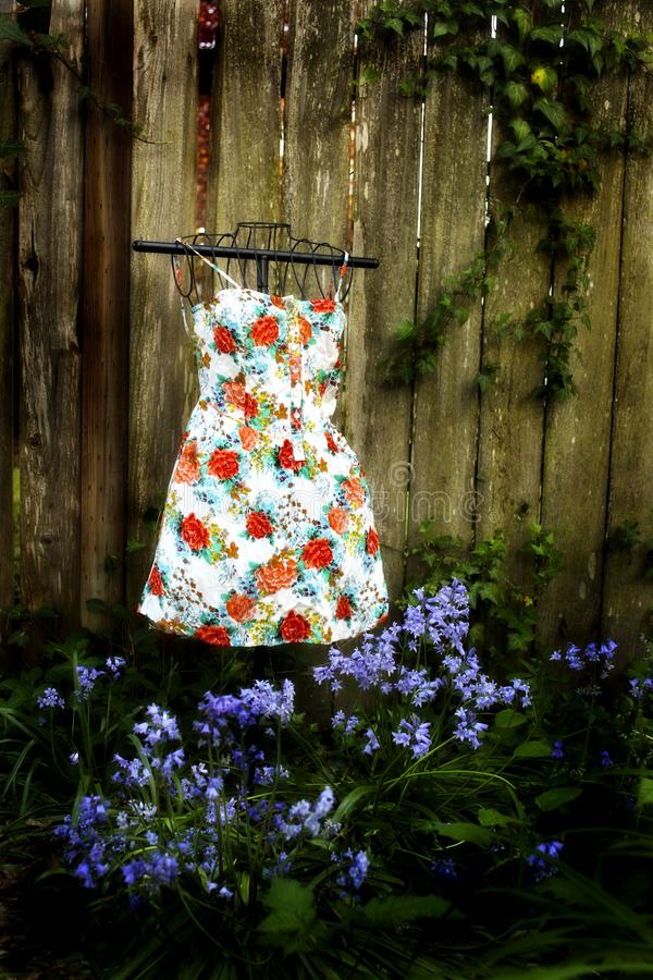 Kleid-againts ein Zaun stockfoto
