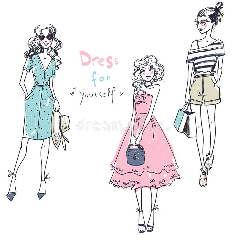 Kleid für selbst Modemädchen, zufälliger Blick, Vektorillustration stock abbildung