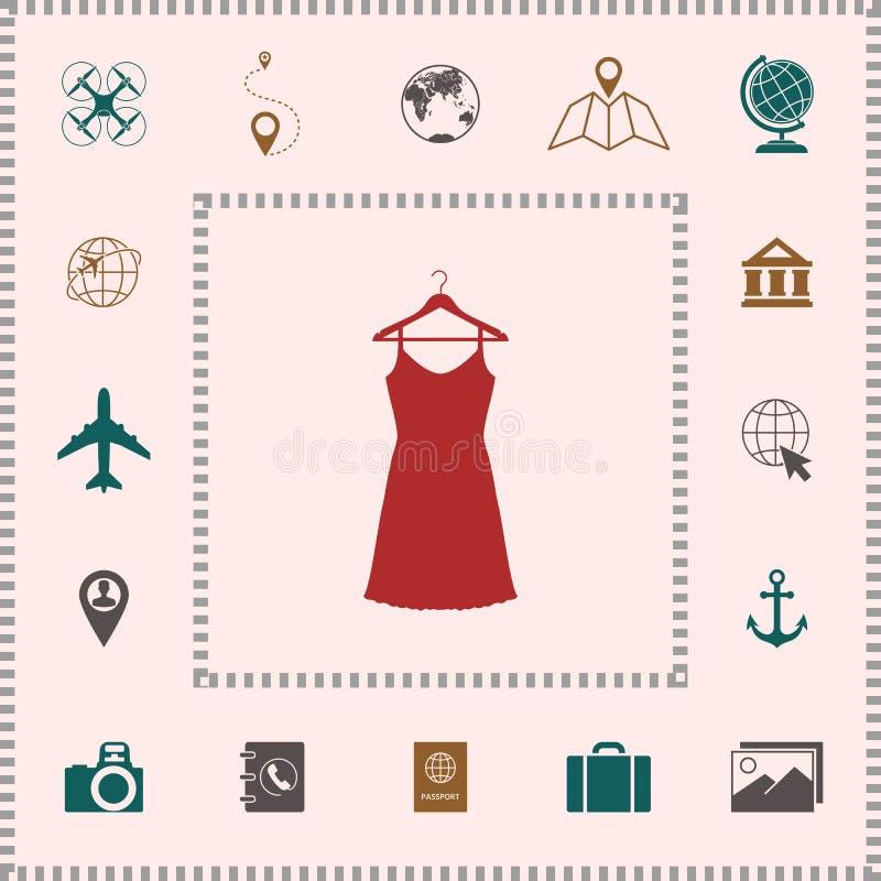 Kleid Sundress, des Abends, Kombination oder Nachthemd auf dem Garderobenaufhänger, das Schattenbild Menüpunkt im Webdesign vektor abbildung