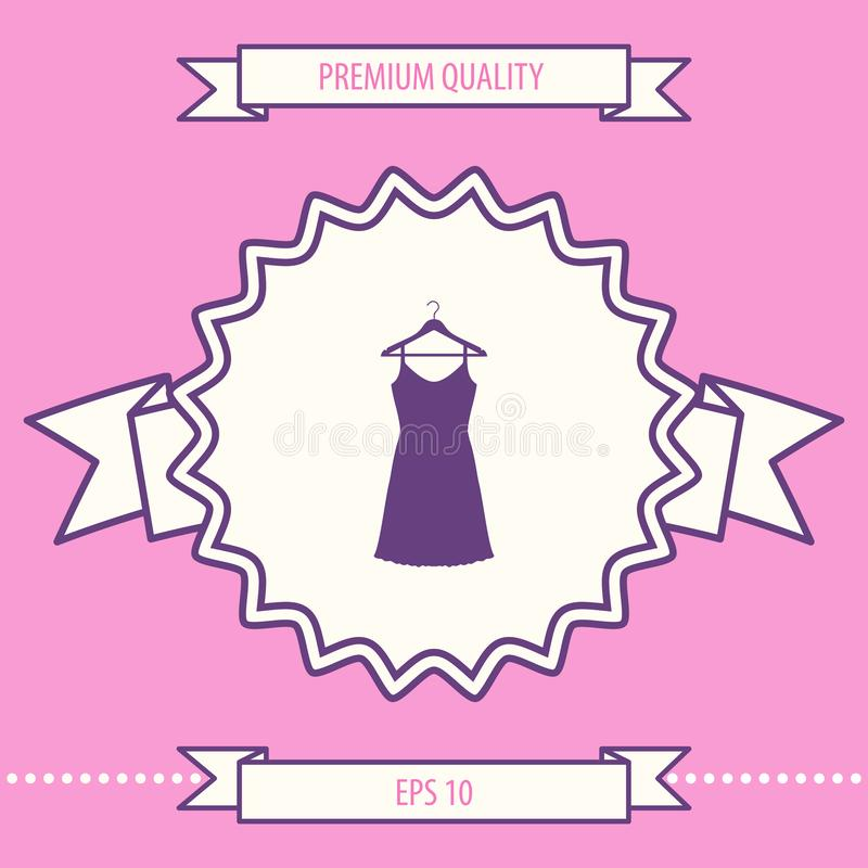 Kleid Sundress, des Abends, Kombination oder Nachthemd auf dem Garderobenaufhänger, das Schattenbild Menüpunkt im Webdesign stock abbildung