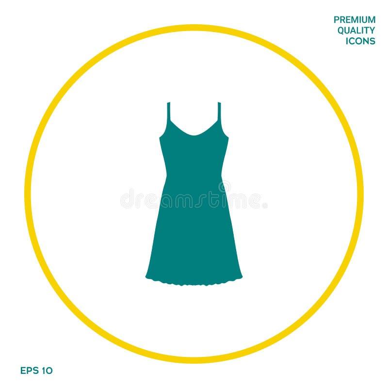 Kleid Sundress, des Abends, Kombination oder Nachthemd, das Schattenbild Menüpunkt im Webdesign stock abbildung