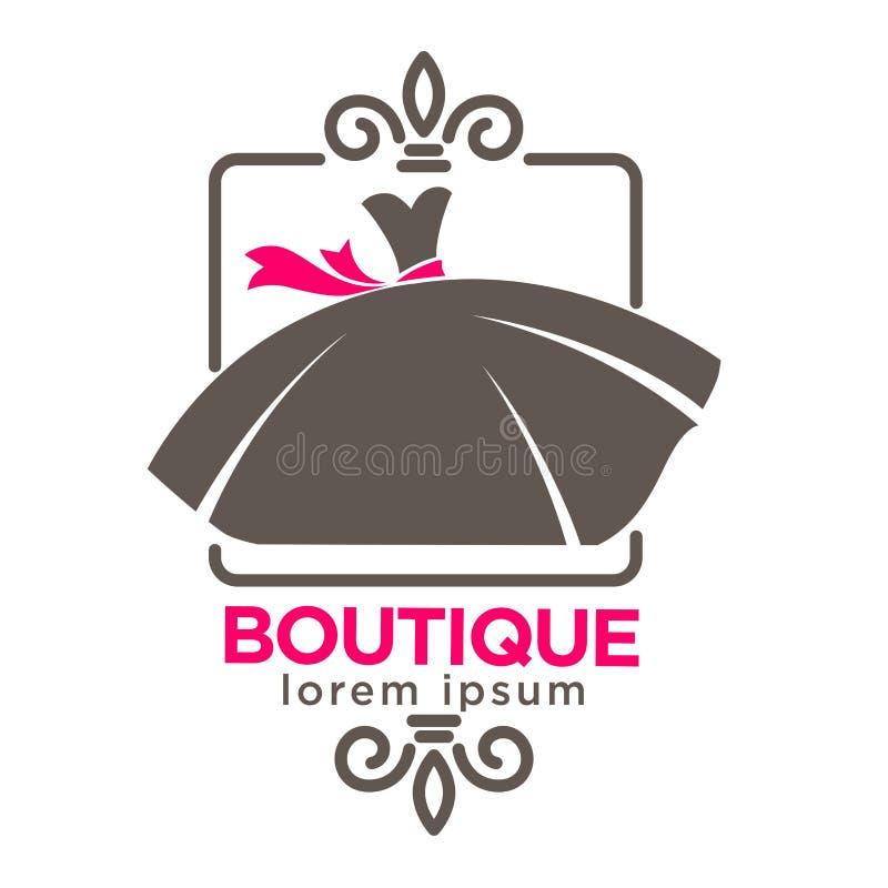 Kleiden Sie Butike oder Modeateliersalonvektorikonenschablone lizenzfreie abbildung
