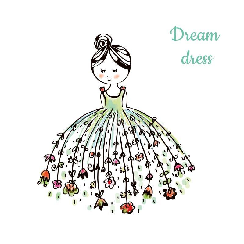 Kleiden Sie für die Figurine des jungen Mädchens mit Blumen an Set 4 vektor abbildung