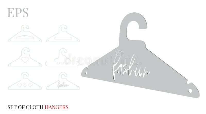 Kleiderbügel-Schablone, Mode-Kleiderbügel Vektor mit gestempelschnitten/Laser schnitt Schichten Weiß, klar, freier Raum, lokalisi stock abbildung