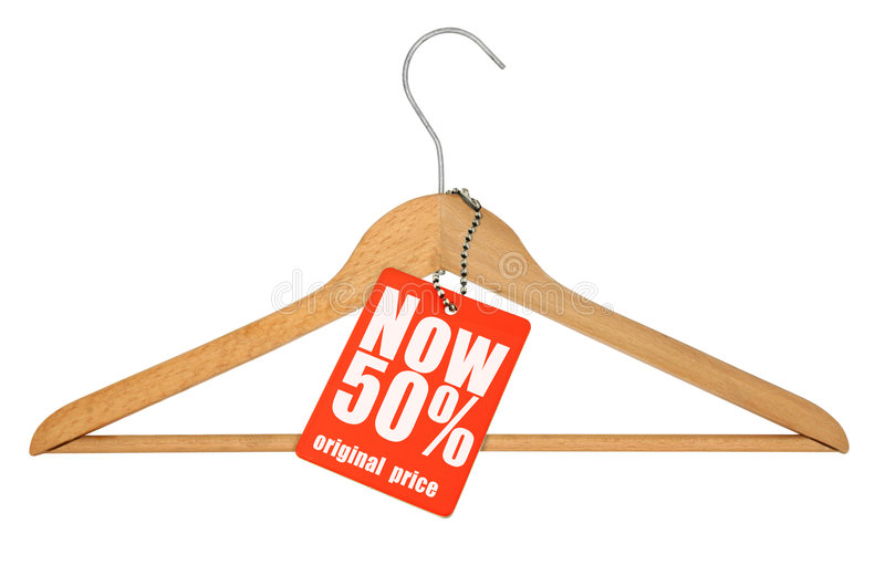 Kleiderbügel und Preis trennten lizenzfreie stockfotografie