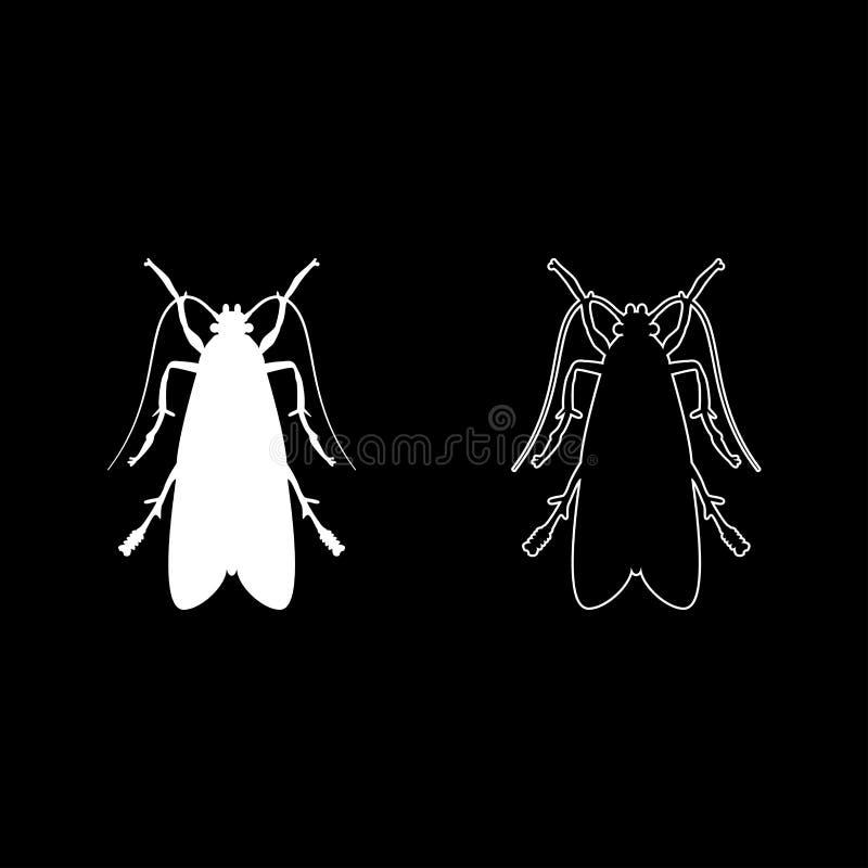 Kleidermotte Kleidungsschmetterlingsmücke-Insektenplageikone stellte flaches Artbild der weißen Farbvektorillustration ein lizenzfreie abbildung