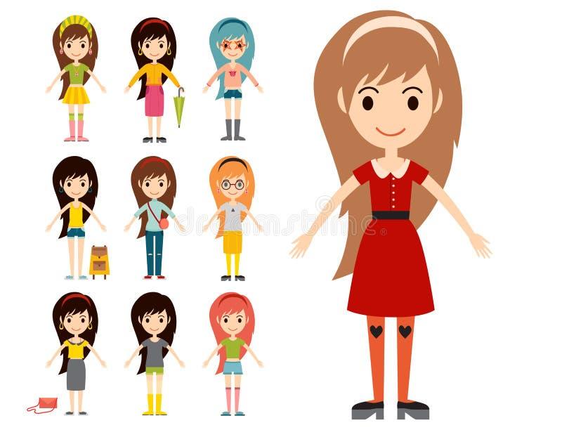 Kleidet moderne stilvolle Frauencharaktere der Straßenmodemädchenmodellabnutzungsart Blickvektorillustration lizenzfreie abbildung