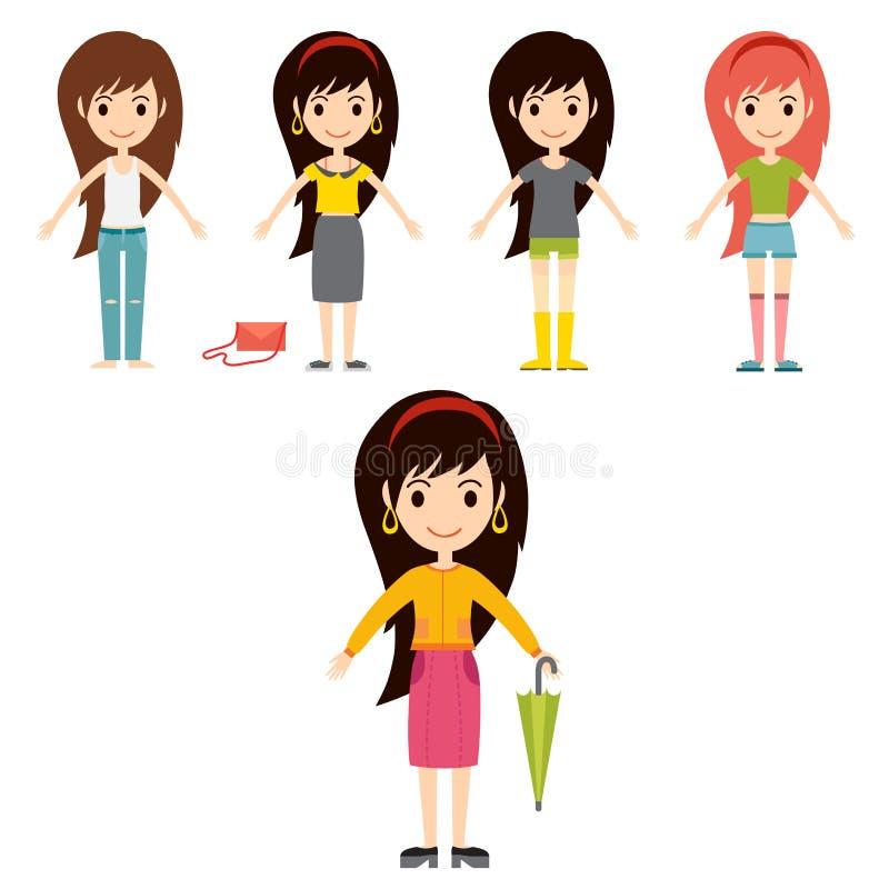 Kleidet moderne stilvolle Frauencharaktere der Straßenmodemädchenmodellabnutzungsart Blickvektorillustration stock abbildung