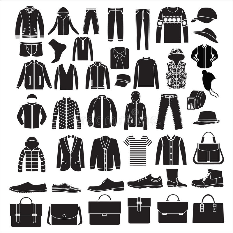 Kleidung die Mode der Männer und Zubehör - Illustration lizenzfreie abbildung