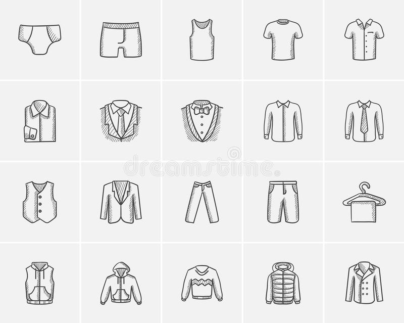 Kleidung für Mannskizzen-Ikonensatz stock abbildung