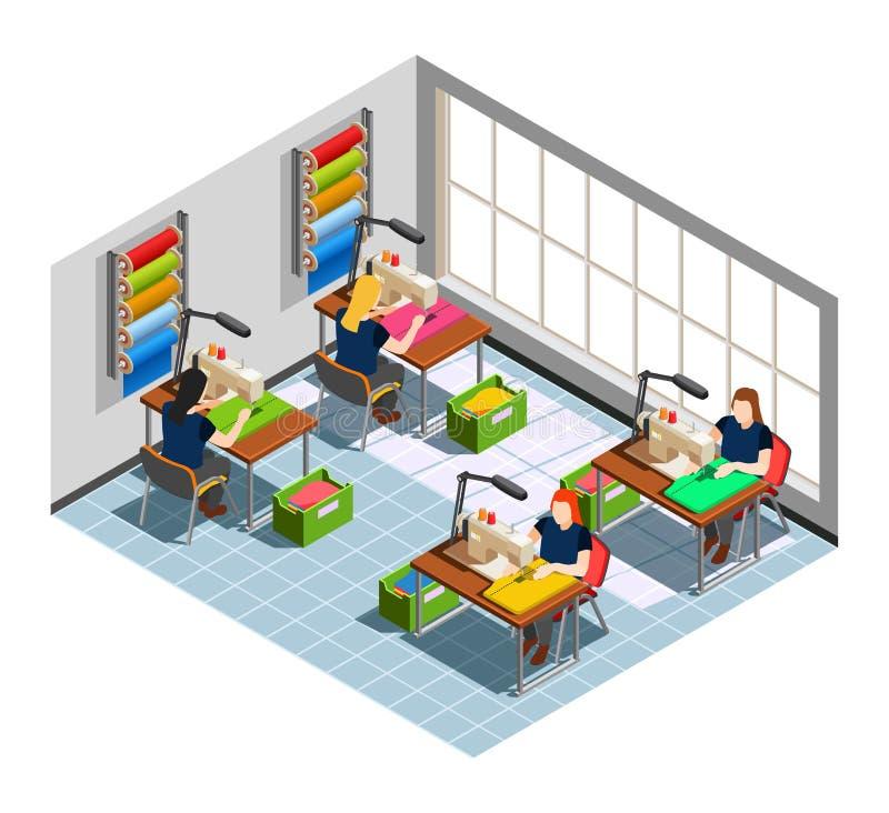Kleidungs-Fabrik-Näherin Isometric Composition lizenzfreie abbildung