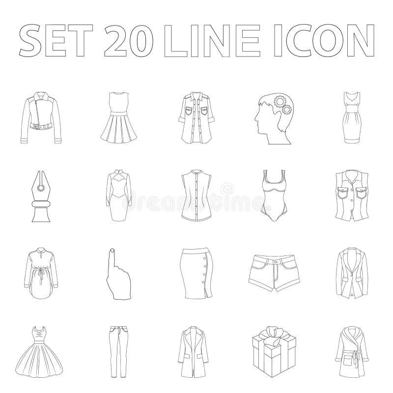 Kleidungsentwurfsikonen der Frauen-s in der Satzsammlung für Design Kleidungs-Vielzahl und Zubehör vector Netz des Symbols auf La lizenzfreie abbildung