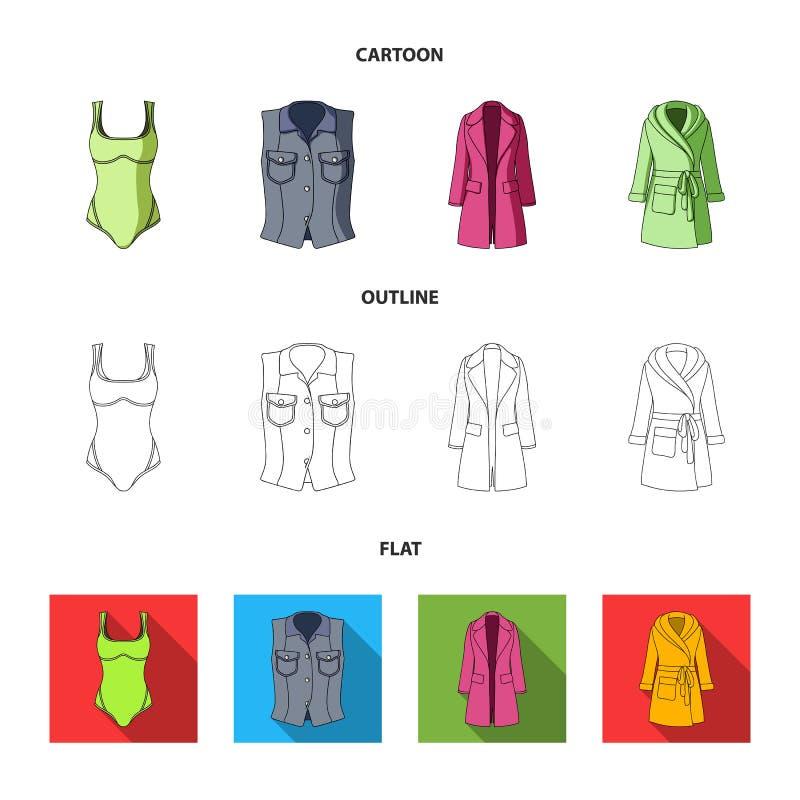 Kleidungskarikatur der Frauen-s, Entwurf, flache Ikonen in der Satzsammlung für Design Kleidungs-Vielzahl- und Zubehörvektor lizenzfreie abbildung