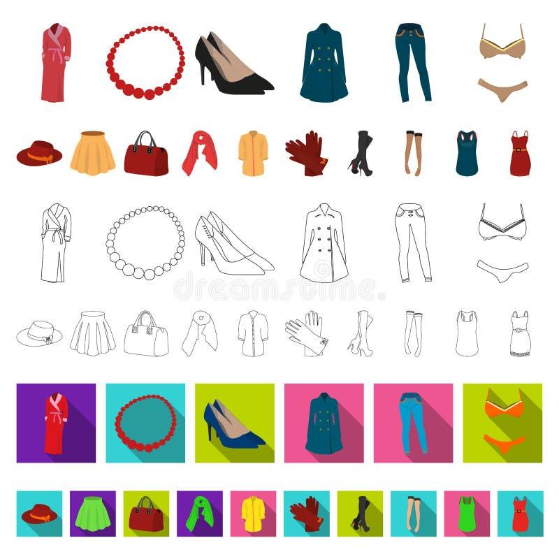 Kleidungskarikaturikonen der Frauen-s in der Satzsammlung für Design Kleidungs-Vielzahl und Zubehör vector Netz des Symbols auf L lizenzfreie abbildung