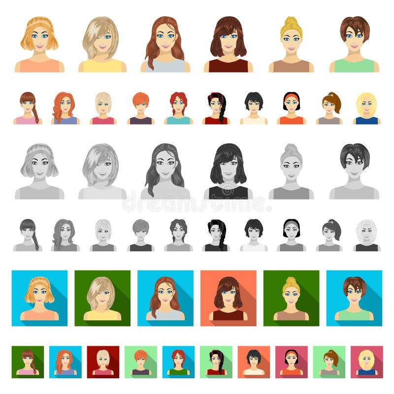 Kleidungskarikaturikonen der Frauen-s in der Satzsammlung für Design Kleidungs-Vielzahl und Zubehör vector Netz des Symbols auf L stock abbildung