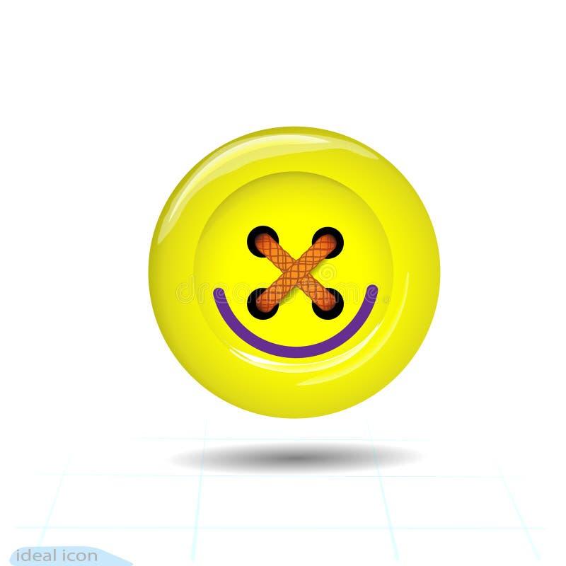 Kleidungsknopfikone mit einem Lächeln Kunst und Handwerk in den gelben hellen Farben Mode und Näharbeit stock abbildung