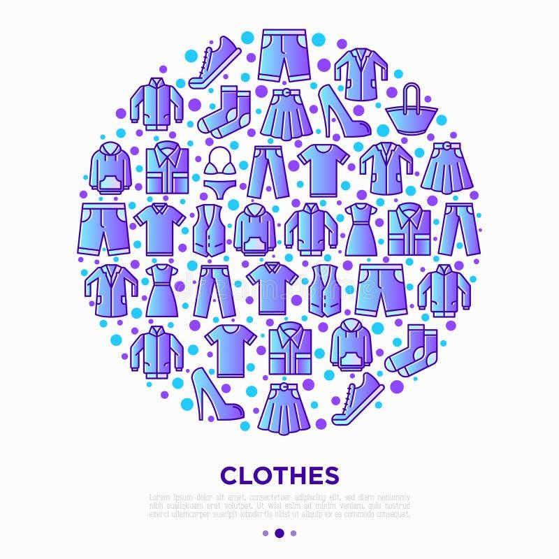 Kleidungskonzept im Kreis mit dünner Linie Ikonensatz: Hemd, Schuhe, Hosen, Hoodie, Turnschuhe, kurze Hosen, Unterwäsche, Kleid,  stockfoto