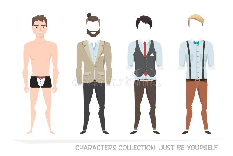 Kleidungssätze für Männer Erbauercharakter stock abbildung