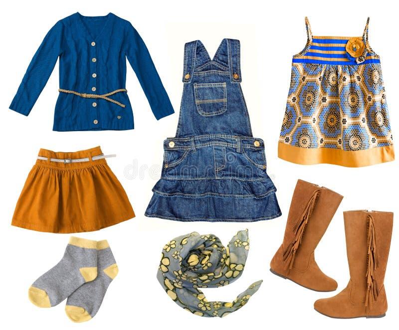 Kleidungssatz des Modekindes Collage der Kleidung des Kindermädchens stockbild