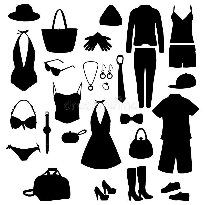 Kleidungsschattenbilder Schwarze Ikonen eingestellt lizenzfreie abbildung