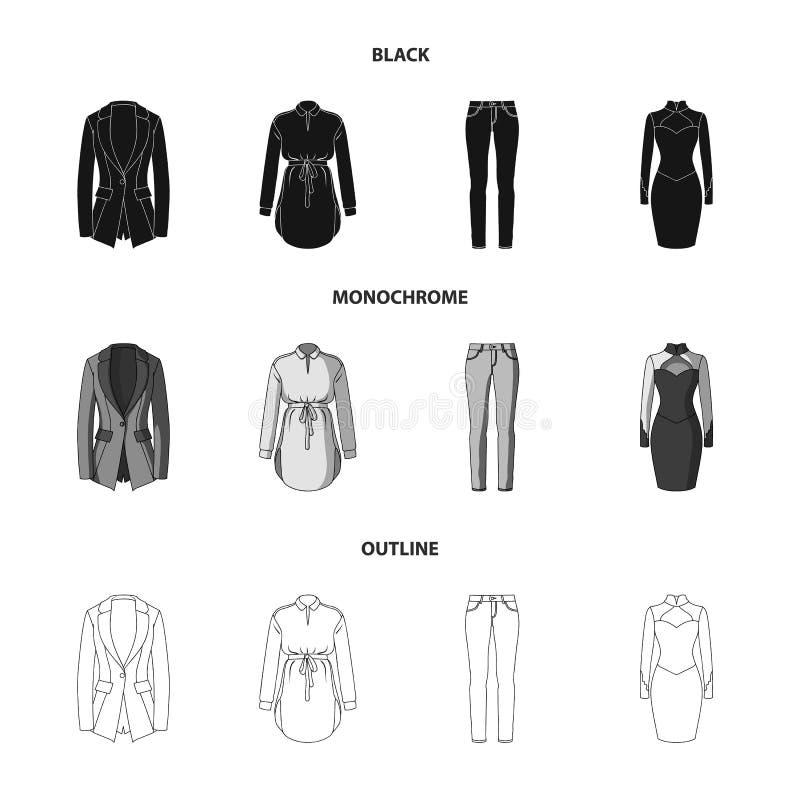 Kleidungsschwarzes der Frauen-s, Monochrom, Entwurfsikonen in der Satzsammlung für Design Kleidungs-Vielzahl- und Zubehörvektor vektor abbildung