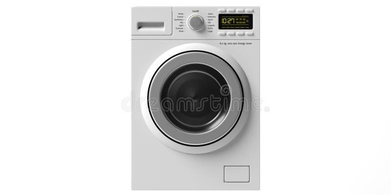 Kleidungswaschmaschine, die trockenere lokalisierte Maschine schnitt auf weißem Hintergrund heraus Abbildung 3D stock abbildung