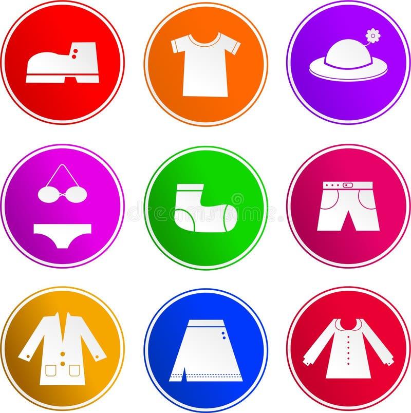 Kleidungszeichenikonen lizenzfreie abbildung
