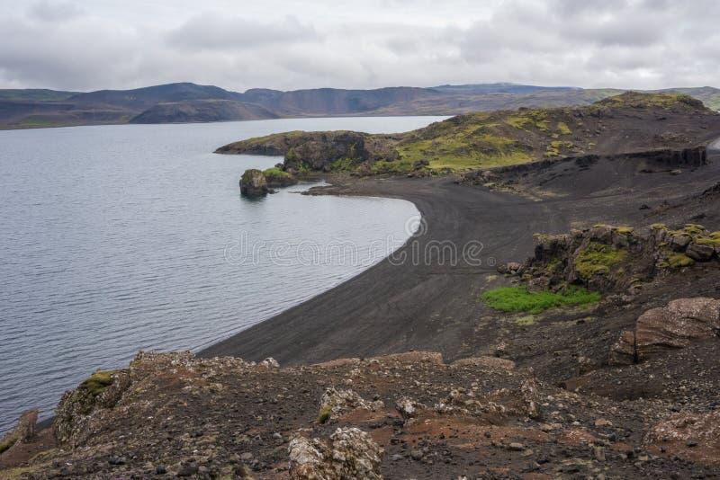 Kleifarvatn jezioro, Reykjanes półwysep, Iceland fotografia stock