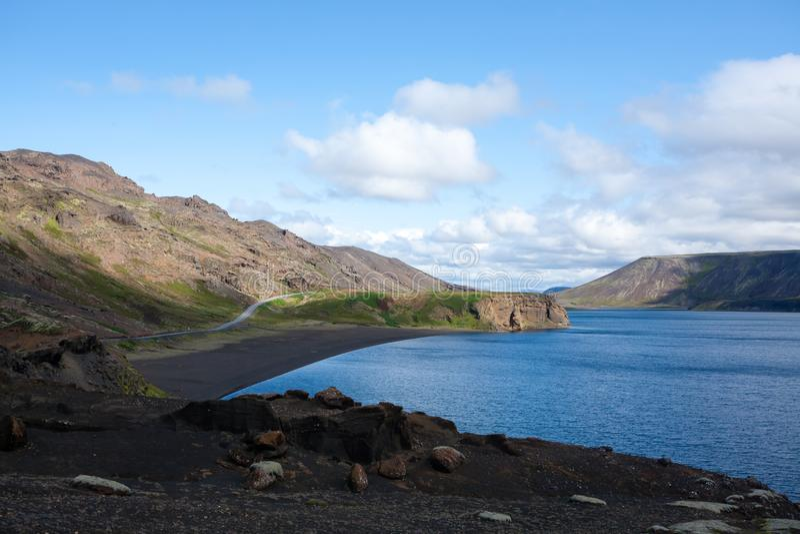 Kleifarvatn lake landscape, southern peninsula, Iceland stock images