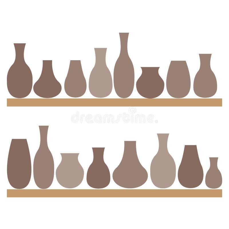 Kleikruiken en vazen op de planken Aardewerk vector illustratie