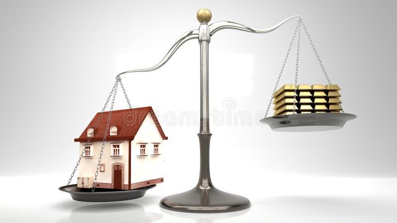 Klein beeldverhaal zoals huis op een schaal tegen stapel goudstaven, lichtgrijze achtergrond vector illustratie