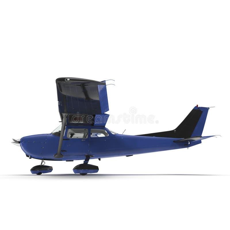 Klein blauw die propellervliegtuig op wit wordt geïsoleerd 3D Illustratie stock illustratie