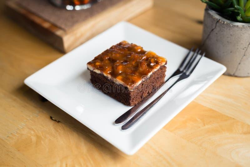 Klein Brownie Cake royalty-vrije stock afbeelding